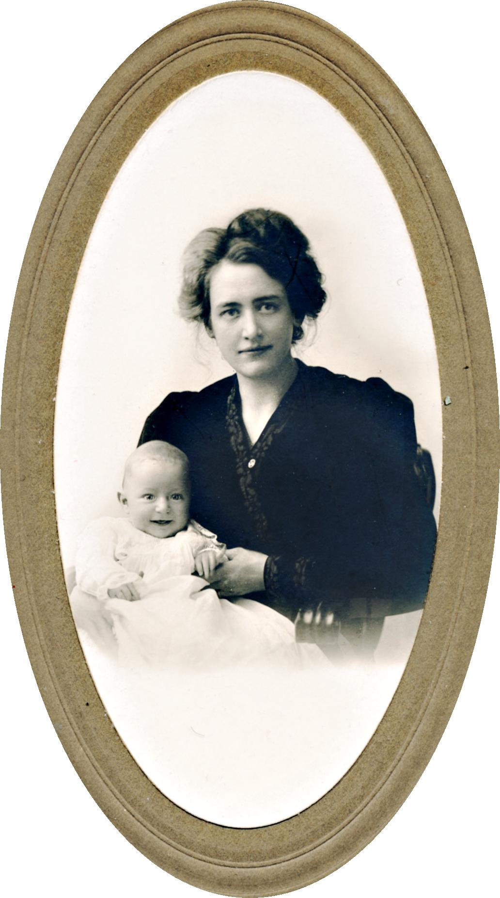 Victoria Heikel med sonen Armas i början av år 1907 i Albany NY State USA